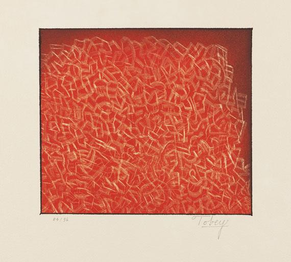 Mark Tobey, Longing for Community, 1973. Etching in colors, 9.2 x 10.5 in. Price without frame: EUR 480, with frame: EUR 580