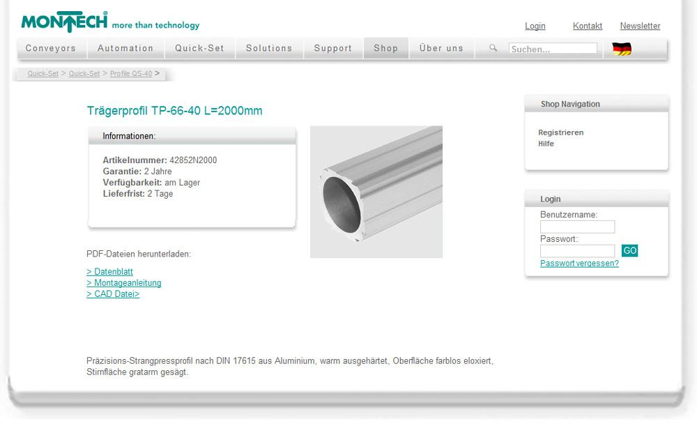 Quick-Set profile system components and other Montech products can be ordered from the Online Shop