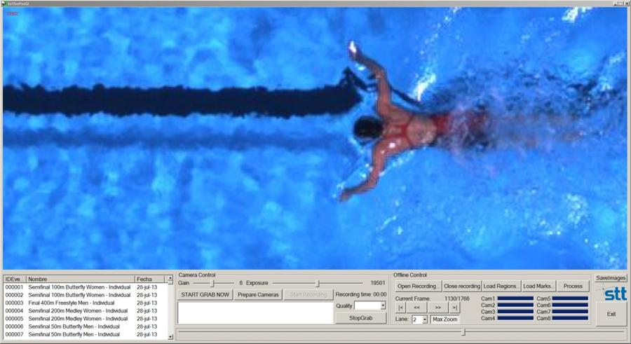 """The user interface of """"In ThePool 2.0"""" shows an athlete in action and controls the image processing."""