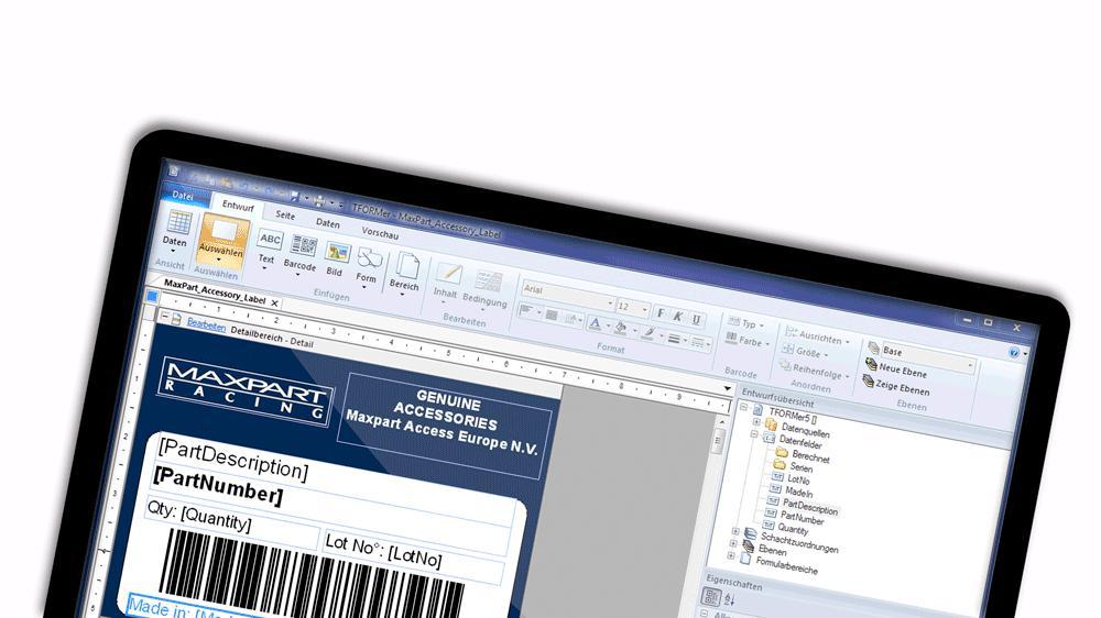 Modern userinterface, TFORMer Label Printing Software