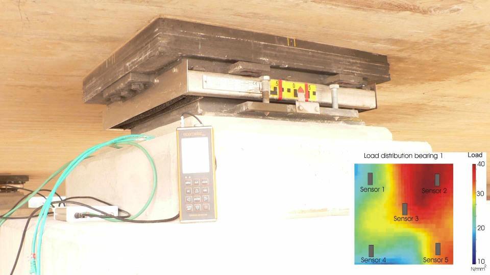 Smart bridge bearings with measurement of the load distribution