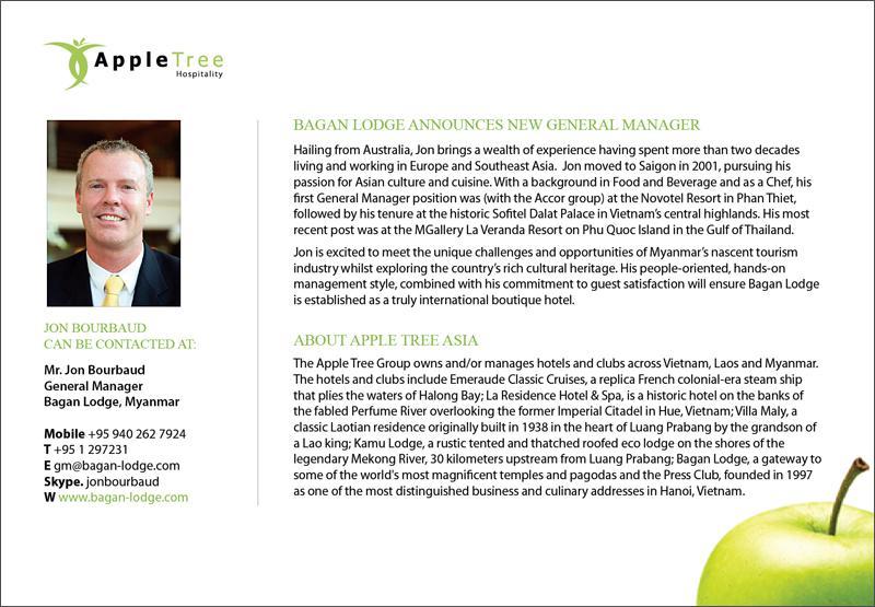 Jon Bourbaud - New General Manager of Bagan Lodge