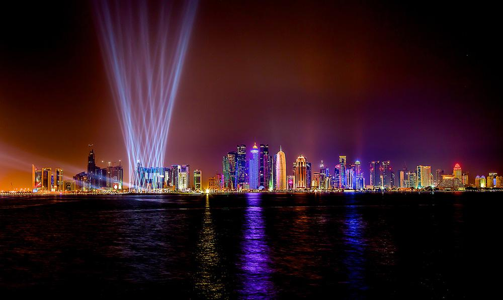 National Day Doha, Qatar with light installation penned by A&O Creative; © 2014, A&O Technology  / Photo: Ralph Larmann