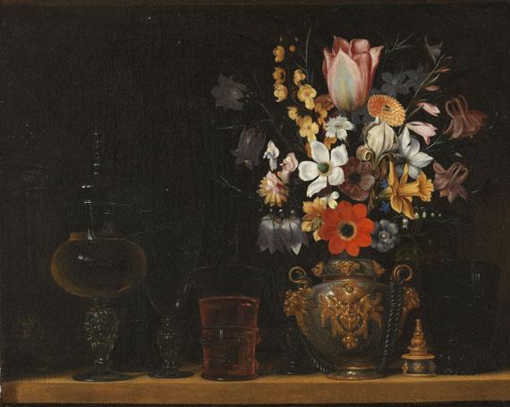 G. Flegel, Stillleben mit Blumenstrauss und Glaspokalen. Oil/canvas. EUR  90-120.000