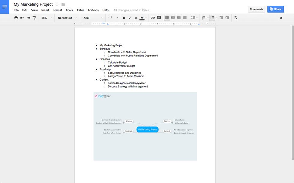 The MindMeister Add-on for Google Docs