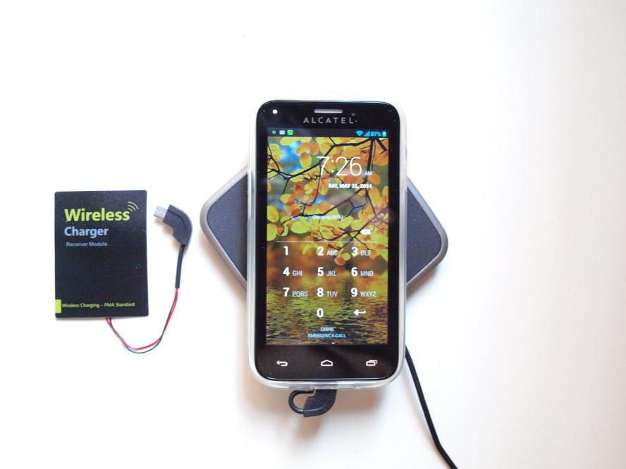 This receiver works on any phone/tablet with a micro-USB port. Simply put the thin receiver on the back of the phone/tablet