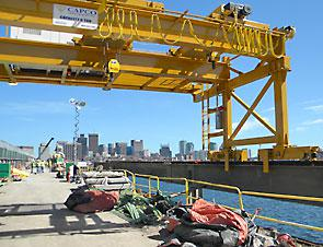 The crane, built and installed by Capco Crane with hoists from Street Crane, is playing a pivotal role in the renovation of the Longfellow bridge.