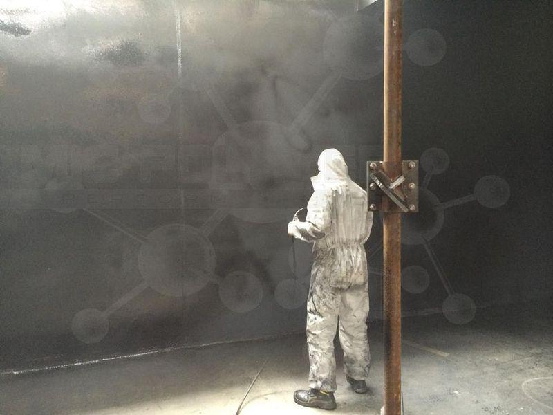 Coating of concrete chamber for liquid pig feed, pH-value 2
