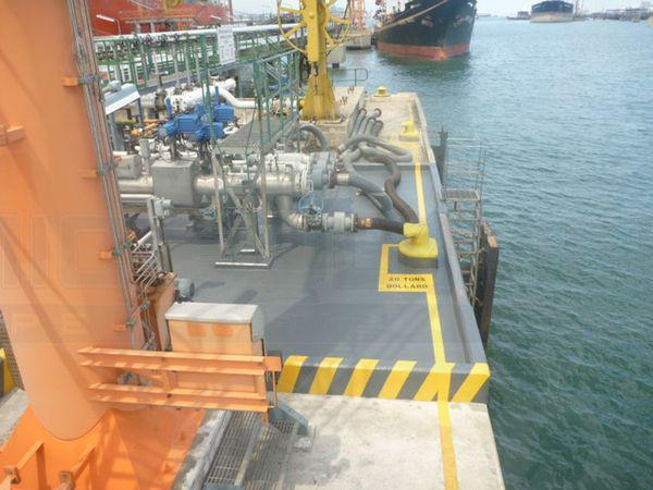 Anti-skid and chemical resistant deck coating of oil jetty on Jurong Island