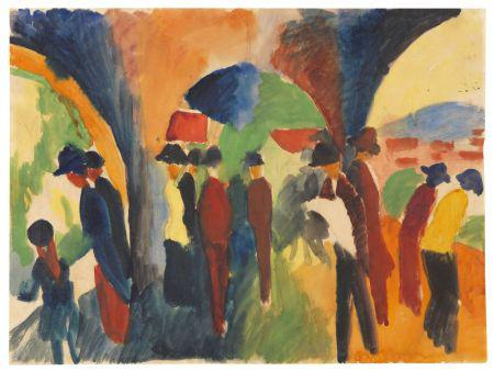 A. Macke, Unter den Lauben von Thun. Gouache, 1913. 14.4 x 19.4 in. Estimate: EUR 600.000-800.000