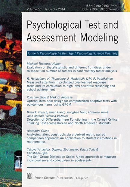 Psychological Test and Assessment Modeling 3-2014