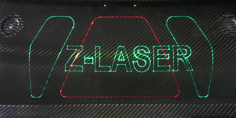 ZLP's laser projection on composite material/carbon