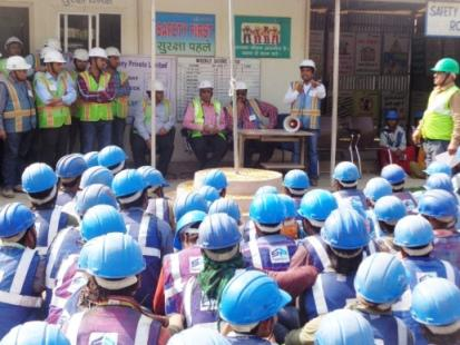 National Safety Week Awareness Camp at Emaar MGF Project Site
