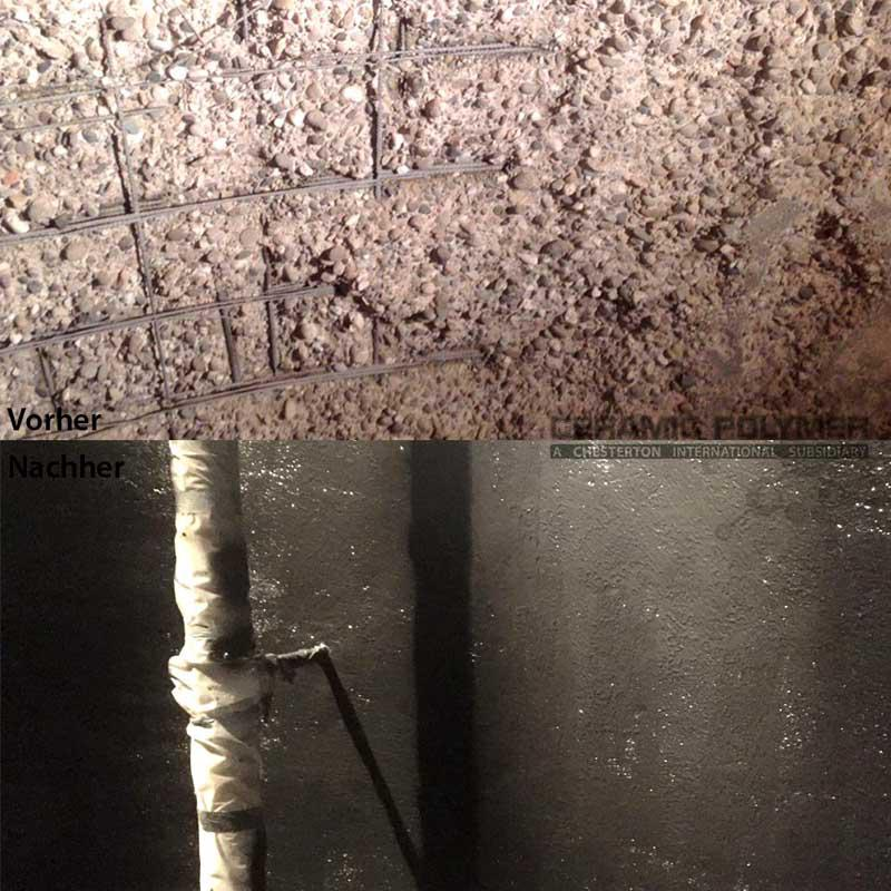 Above: Washed-out-concrete-effect?  - caused by aggressive acids in the ensilage. Below: Coated wall area