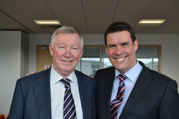 Sir Alex Ferguson, former Manchester United manager (left) and Ray Fletcher, director at Street CraneXpress (right)