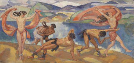 L. von Hofmann, Tanzende in weiter Landschaft. Oil/canvas, c. 1910. 27.5 x 58.2in. EUR 50,000-70,000