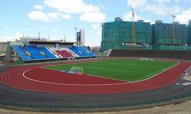 The new artificial turf pitch in Cambodia's National Olympic Stadium in Phnom Penh