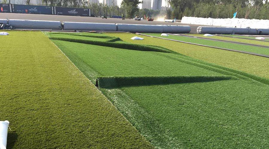 A CCGrass pitch being installed in the Gothia Football Park in Shenyang, China