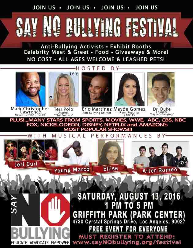 "Los Angeles ""Say NO Bullying Festival"" to Unite Community"