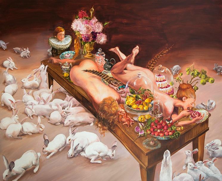 Sala Lieber, Der kleine Voyeur, 2016, oil on canvas, 230 x 190 cm