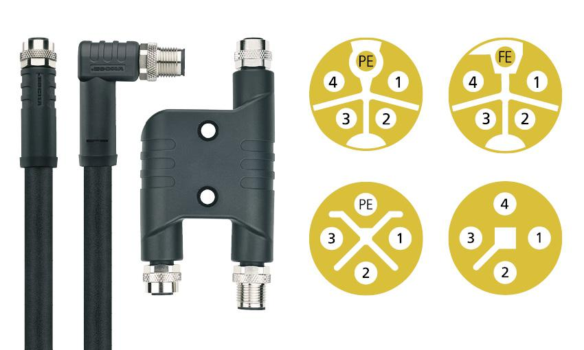 Besides other novelties, ESCHA shows five pin M12x1 connectors with L- and K-coding for power supply.