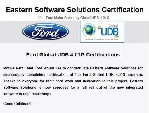 Ford UDB Certificate