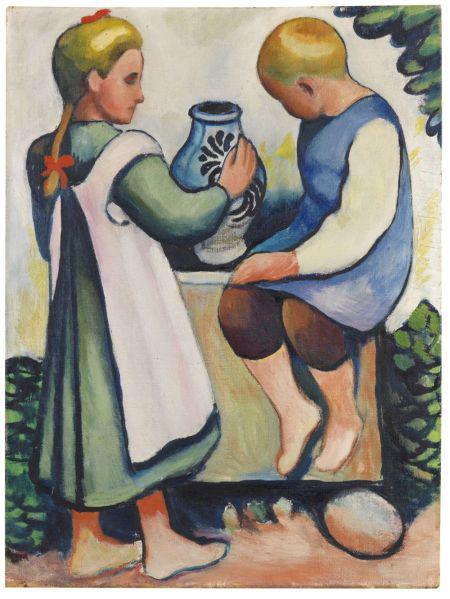 August Macke, Kinder am Brunnen II, 1910. Oil on canvas, 31.6x 22.2 in. Estimate: EUR 300,000-400,000.