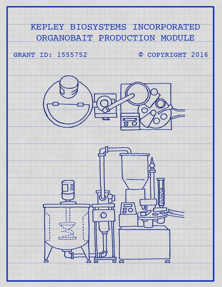 The initial design sketch for the OrganoBait automated production module to be funded by NSF TECP grant.