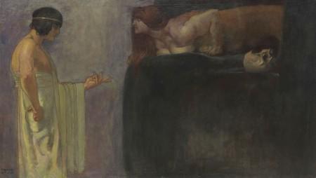 F. v. Stuck, Ödipus löst das Rätsel der Sphinx (detail), 1891, oil/canvas. Sold for EUR 412,500*