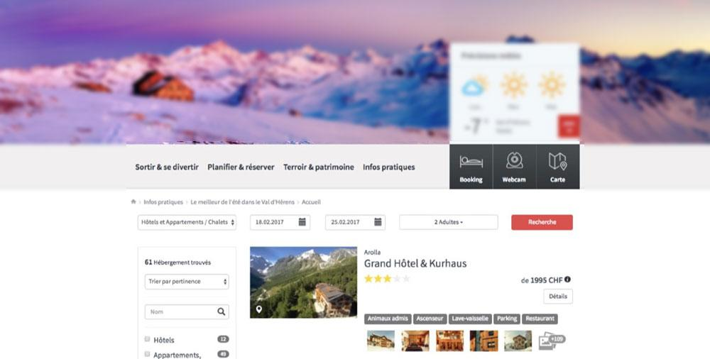 Val d'Herens uses OpenBooking metasearch