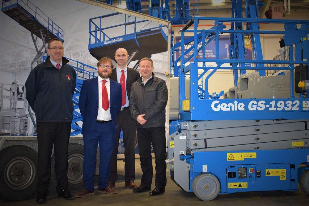 At the handover (L-R) Alastair Richards, Carl Tidey and Andy Hickingbottom of Total Hire with Jonathan Hull of Workplatform