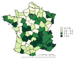 Distribution of the average organic market share % for regions in France