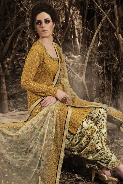 Mustard Net Patiala Suit With Embroidered Dupatta