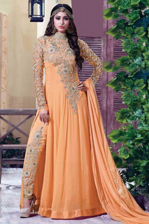 Orange Georgette Anarkali Churidar Suit With Dupatta
