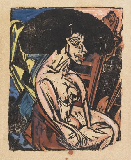 E. L. Kirchner, Die Geliebte, 1915. Woodcut, hand-colored, 17.4 x 11.4 in. ? 100,000-150,000