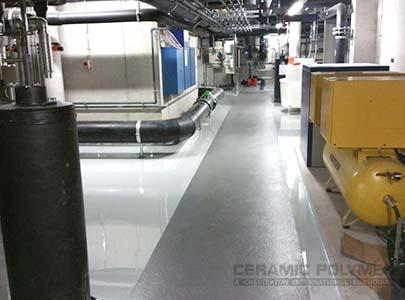 The floor area of the engineering room is now longterm protected against chemical influences and signs of wear.