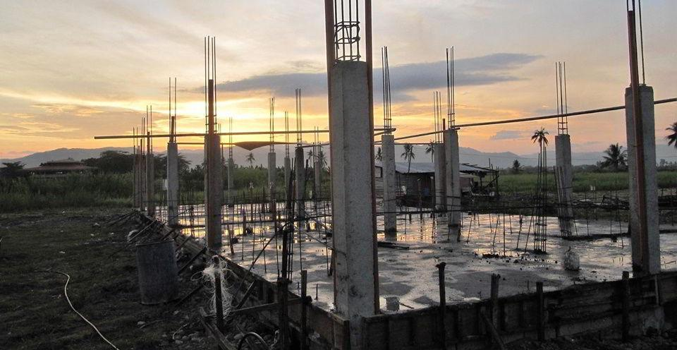 Photo taken at the Casa Esperanza of Angels construction site after the concrete slab was poured.
