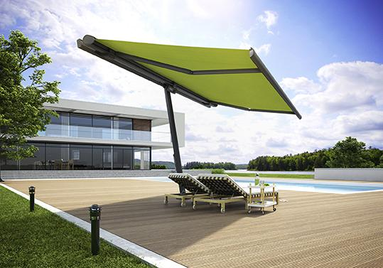 "The awning parasol ""planet"" from markilux is a combination of awning and parasol. It provides generous shade that follows the sun."