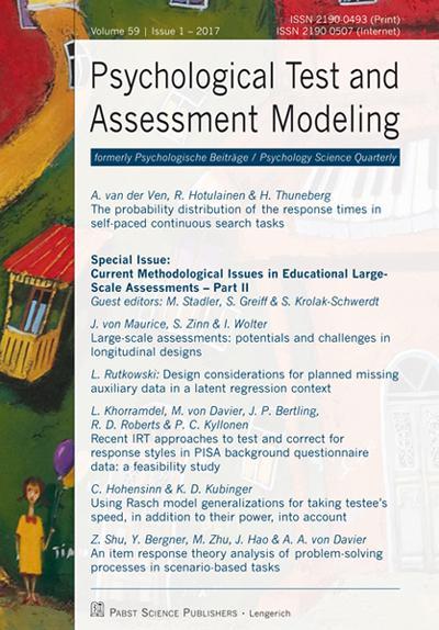 Psychological Test and Assessment Modeling: 1/2017