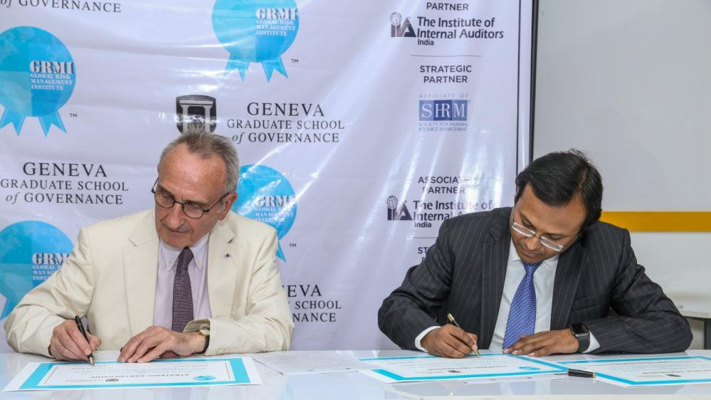 Dr. Bernard Boene, Chancellor, GGSG and Mr. Subhashis Nath, Mentor, GRMI signing the Strategic Partnership Agreement