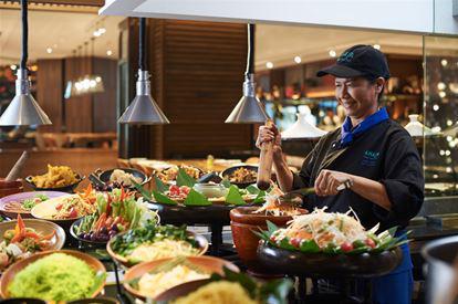 "Preparation of the Thai classic Papaya Salad, ""Som Tum"", at Amaya Food Gallery"