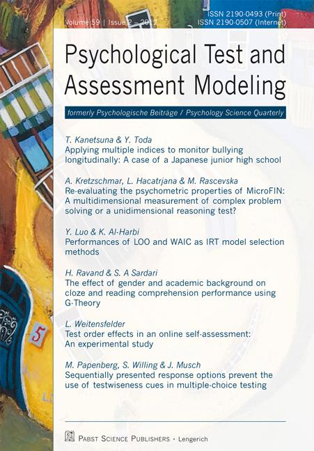 Psychological Test and Assessment Modeling, Volume 59, 2017 (2)