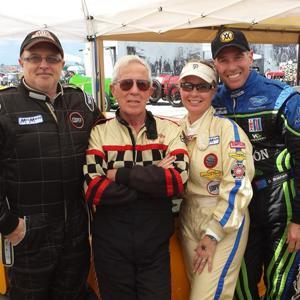 The Racine family Mini Cooper racers (l to r) Dennis, Don, Julie, son-in-law John Bermann