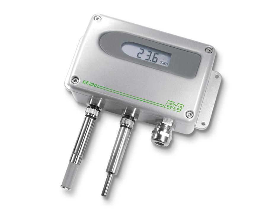 EE220 in metal enclosure with separate sensing probes for humidity and temperature.