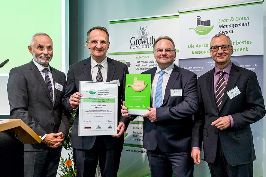 From left to right: F. Tempel (Growtth® Consulting), H. Krug and Dr.-Ing. U. Bader (Bühler Motor GmbH, W. Regh (Growtth®)