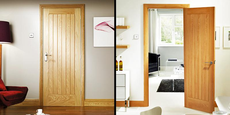Panelled oak doors from the Suffolk range supplied by Wonkee Donkee XL Joinery
