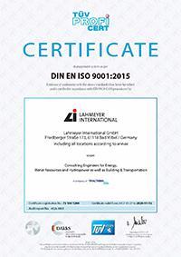 Certificate according to DIN EN ISO 9001:2015