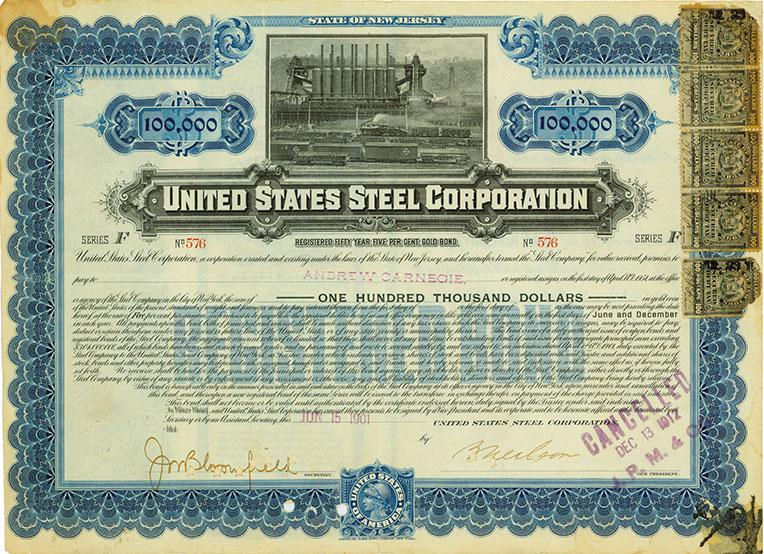 Bond of the United States Steel Company, signed by Andrew Carnegie