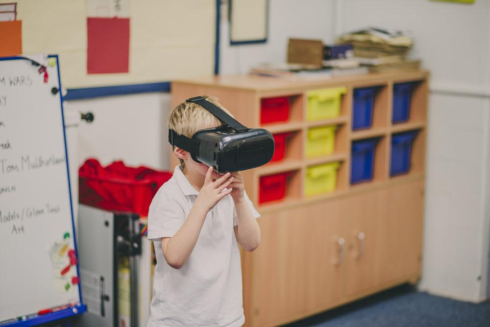 Child Utilizing VR to Learn