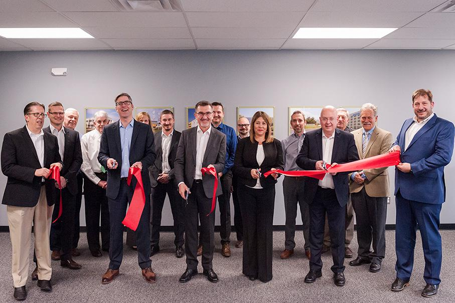 The Bühler Motor team at the formal opening of the new office in Detroit